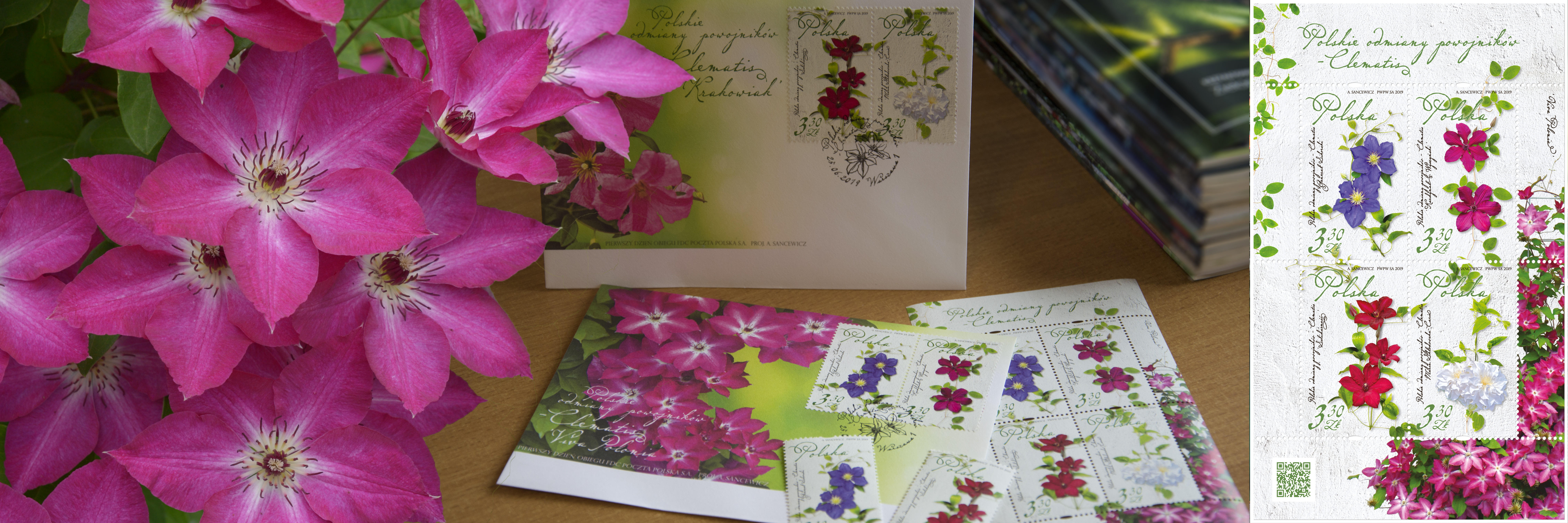 Polish Clematis cultivars on The Polish Post stamps