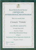 ph clematis Vistula registration certificate 2009 small